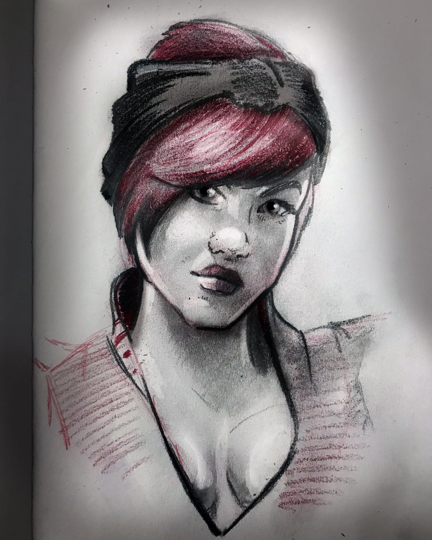 Custom personalized portrait drawing digital file of pencil drawing fast sketch style